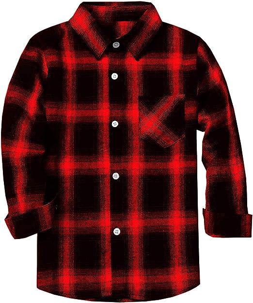 Kids Long Sleeve Boys Plaid Flannel Button Down Shirt 2T-12