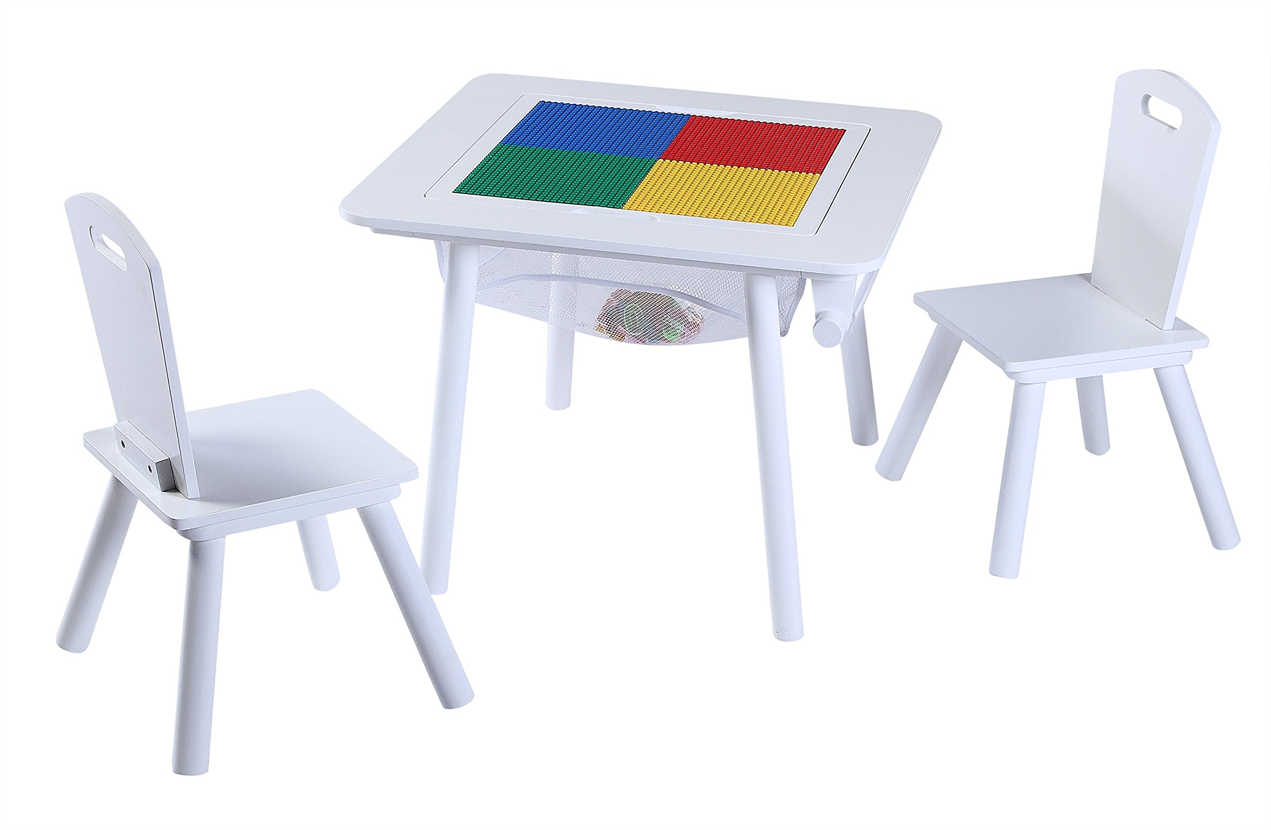 O'Kids 4-in-1 Flip Top Multi-Function Wooden Activity Table and Chair Set, White