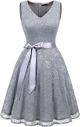 Amazon.com: ivnis Mujer Vestido de cóctel cuello en V ...
