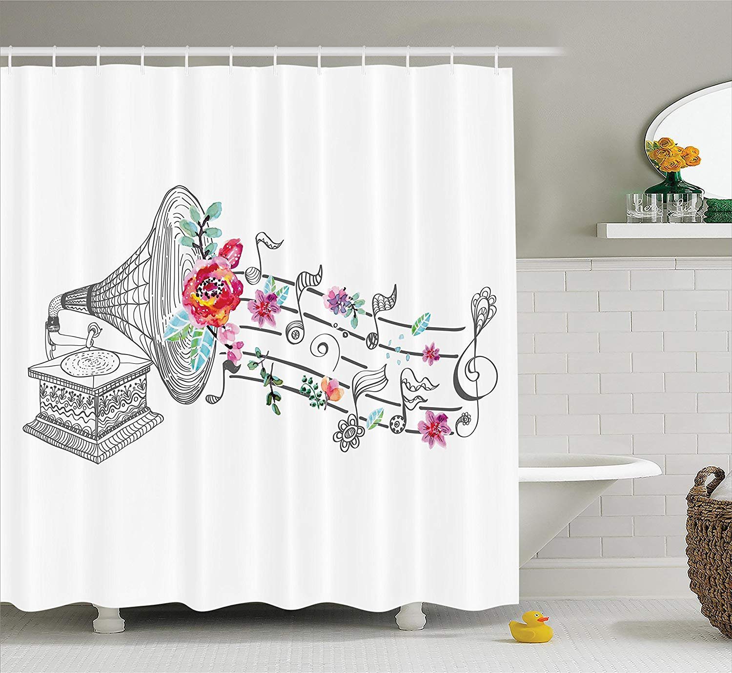 Printing Music Decor Shower Curtain Set, Vintage Gramophone Record Player with Floral Ornament Blossom Antique, Non Toxic, Eco-Friendly, No Chemical Odor for Bathroom set, 60 x 72 Inches Grey Pink