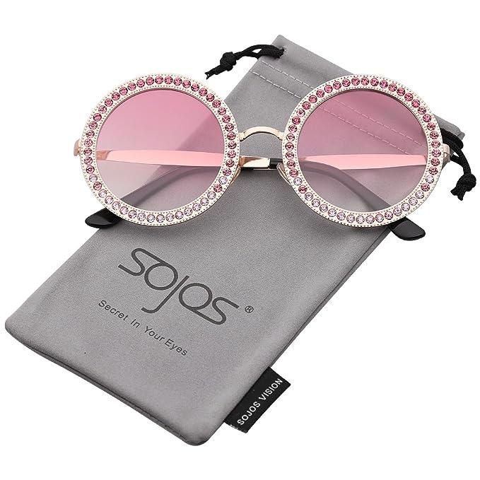 SojoS Gafas De Sol Para Mujer Redondo Marco Diamante Cristal SJ1095 Con  Marco Dorado Lente Gradiente Rosado  Amazon.es  Ropa y accesorios 4fa5372e25c2