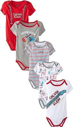 Amazon.com: Calvin Klein Baby-Boys Newborn 5 Pa Creepers ...