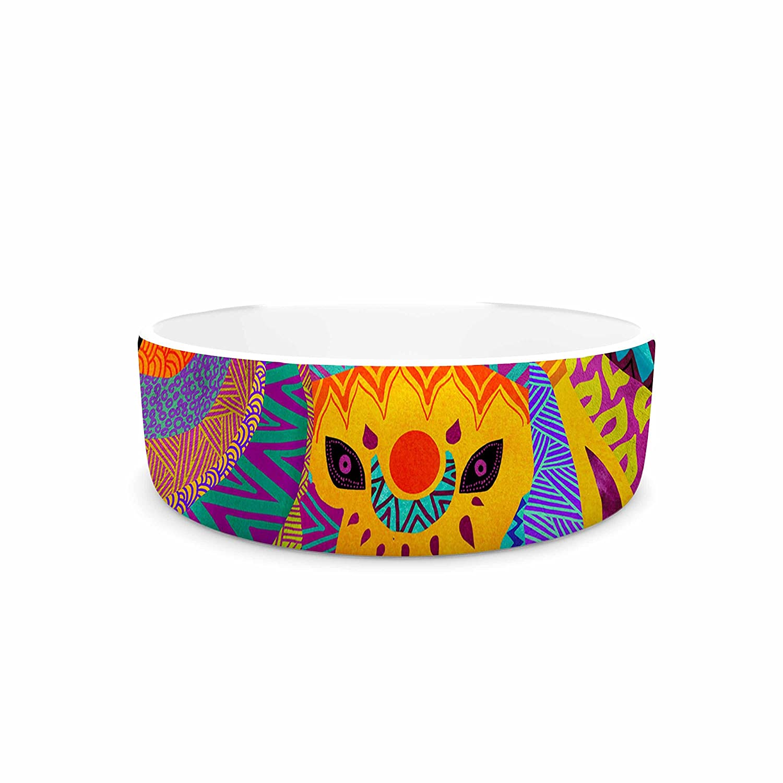 KESS InHouse Pom Graphic Design The Elephant In The Room  Rainbow Tribal Pet Bowl, 4.75