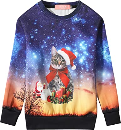 SSLR Big Boys Xmas Santa Crew Neck Pullover Funny Ugly Christmas Sweater