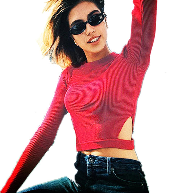 Suéter corto de mujer slim de rojas 2017 manga larga ❤ Longra ❤ ropa de mujer en oferta Atractivo Jerséy mujer Otoño y invierno Tops de mujer, ...