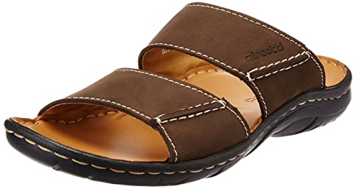 b11e53bfba7 Miraatti Men s Coffee leather Sandals and Floaters - 11 UK (6031-19 ...