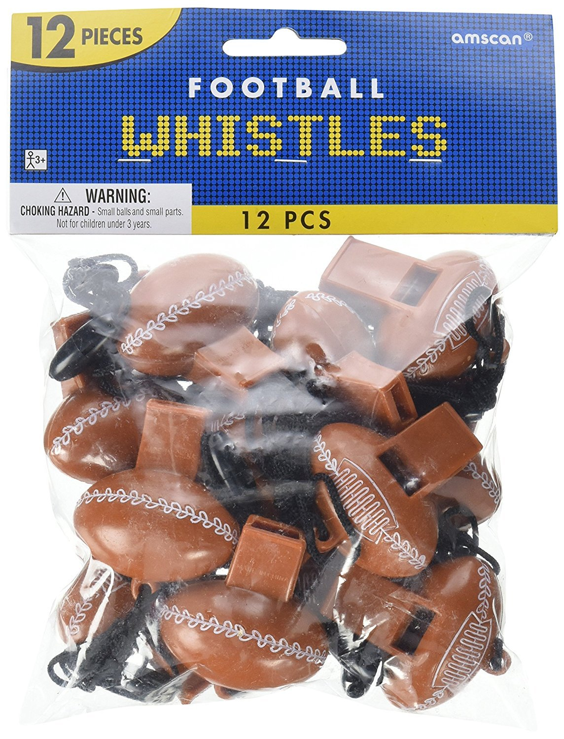 """Plastic 2 x 1/"""" Value Pack: 24 Count Party Perfect Football Mini Whistle Favours"""