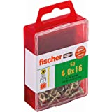 Fischer 653940 Power-Fast Lot de 50 Vis à tête fraisée 4,0 x 16 mm VG PZ galvanisée Jaune