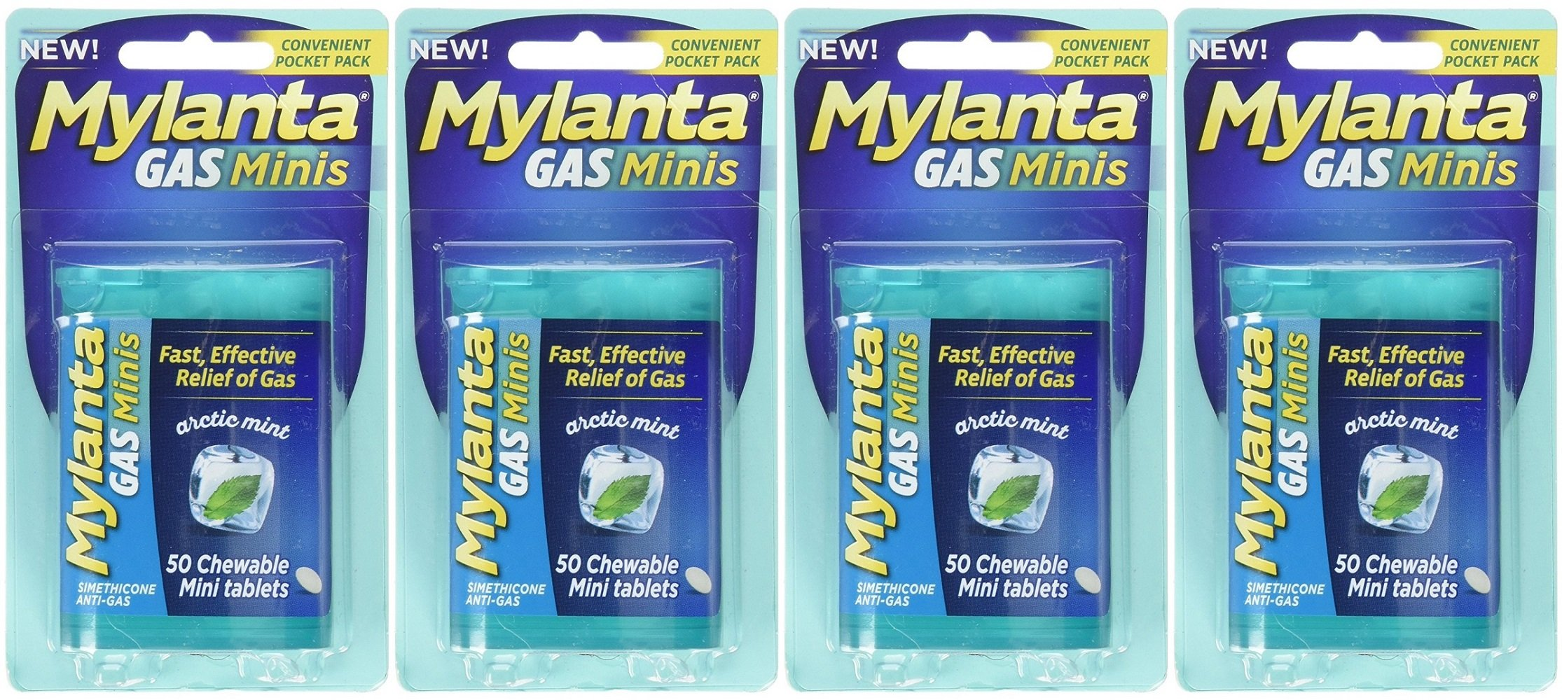 Mylanta Gas Mini Chewable Tablets, Arctic Mint 50 Count (4 Pack)