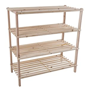 Lavish Home Wood Shoe Rack, Storage Bench – Closet, Bathroom, Kitchen, Entry Organizer, 4-Tier Space Saver Shoe Rack