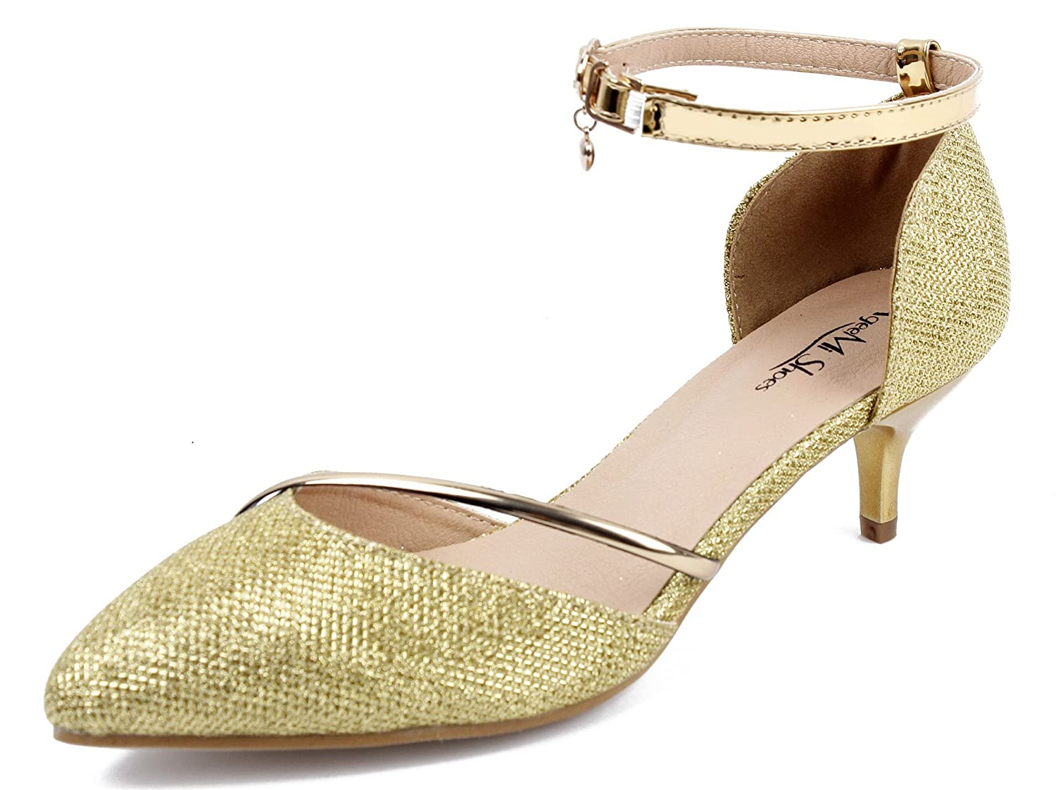 AgeeMi Shoes Womens Closed Pointed Toe Ankle Strap Low Heels Sequins with Buckle Gold Kitten Heels Silver Shoes Women EuD37