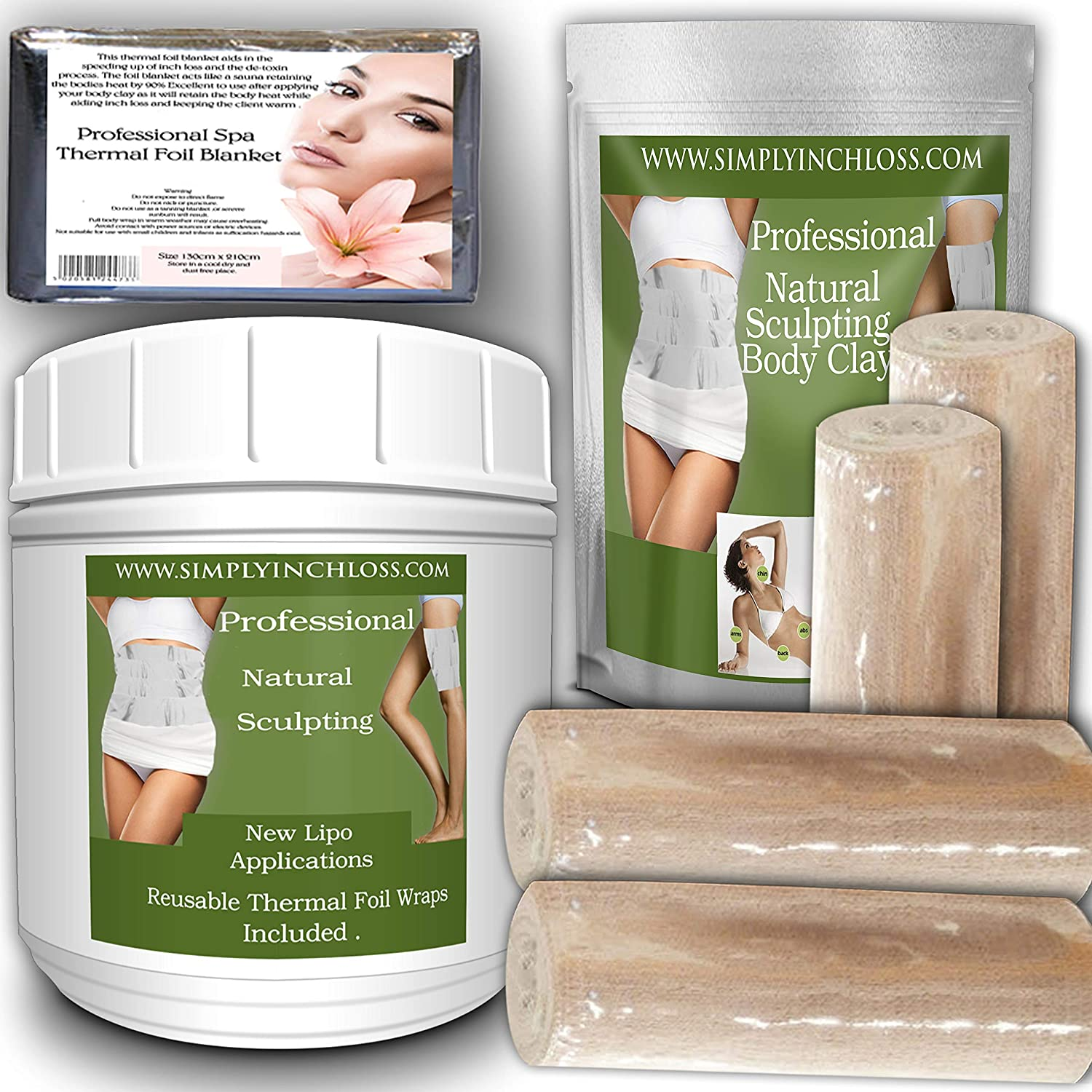 tummy mummy new improved formula body clay wrap instant inch-loss home spa kit 4 contouring bandage divineclay mch 12045