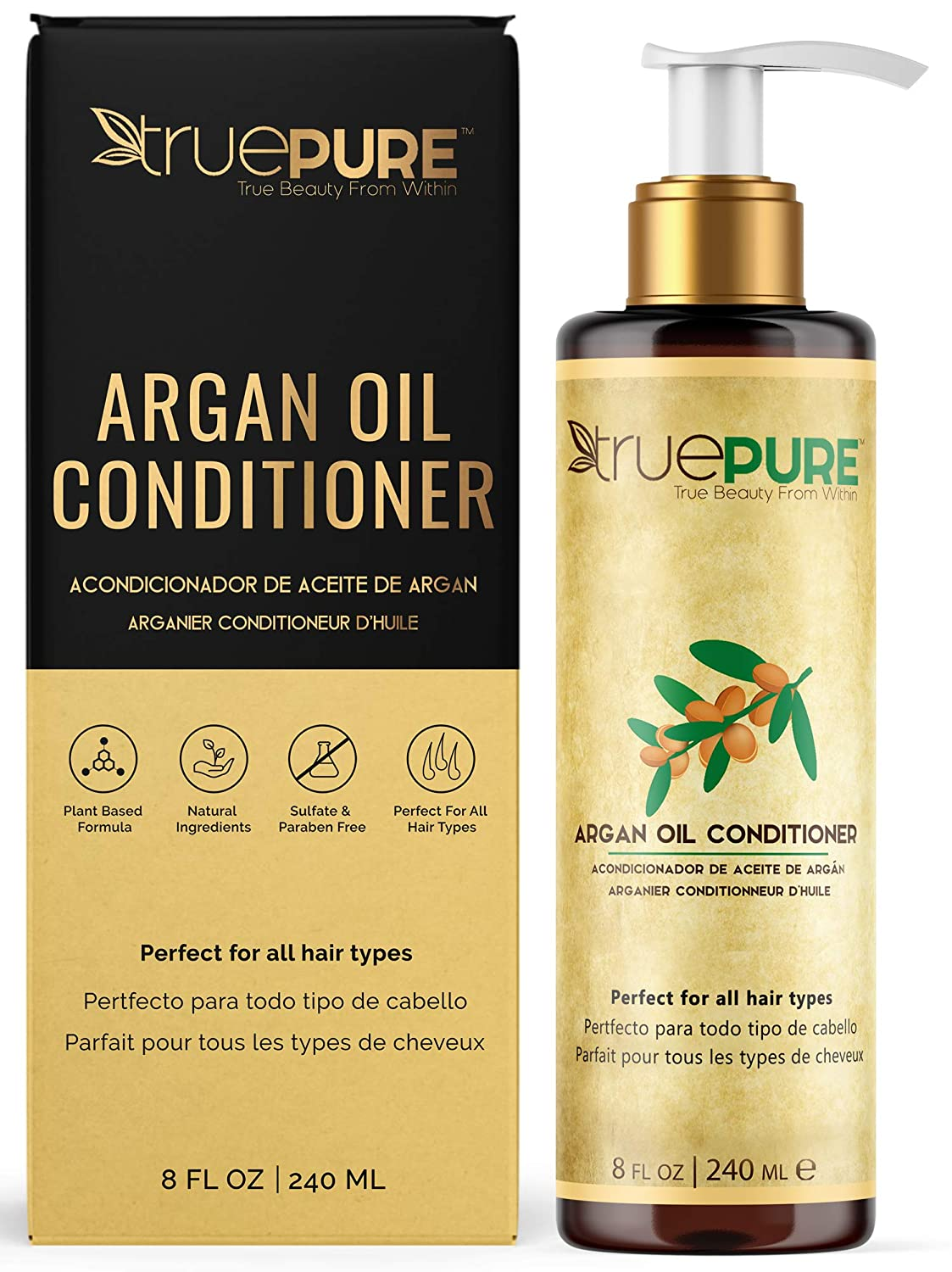 TruePure Argan Oil Conditioner (8 oz.) Deep Conditioner, Natural Hair Treatment for Dry, Damaged Follicles, Split Ends | Sulfate, Paraben, Fragrance Free | For Men & Women | Made in USA: Beauty