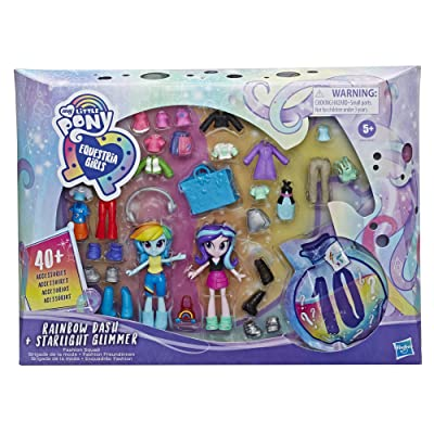 My Little Pony Equestria Girls Fashion Squad Rainbow Dash and Starlight Glimmer Mini Doll Set Toy with Over 40 Fashion Accessories: Toys & Games