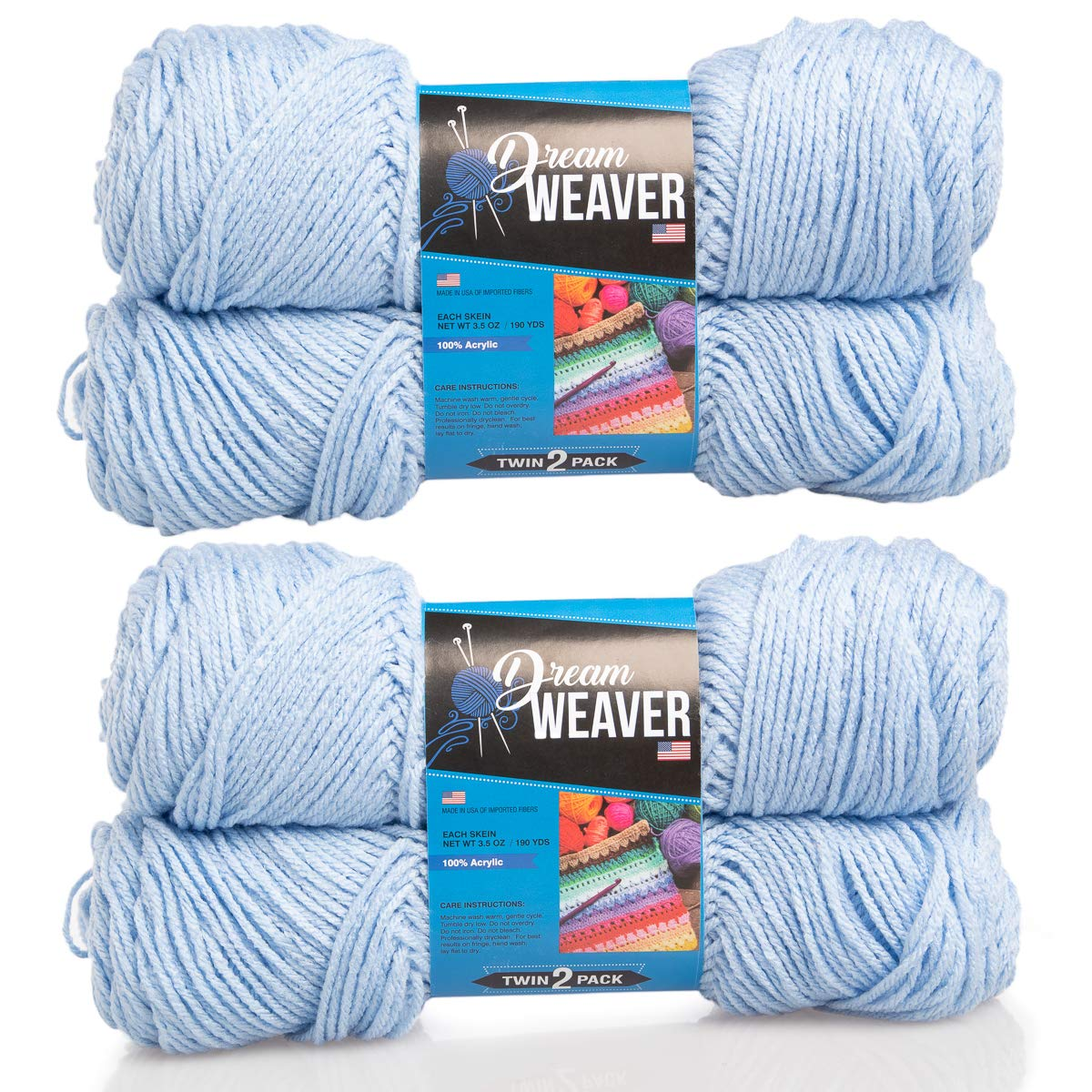 Dream Weaver 4 Pack Solid Color 100% Acrylic Soft Powder Blue Yarn for Knitting Crocheting Medium Worsted #4