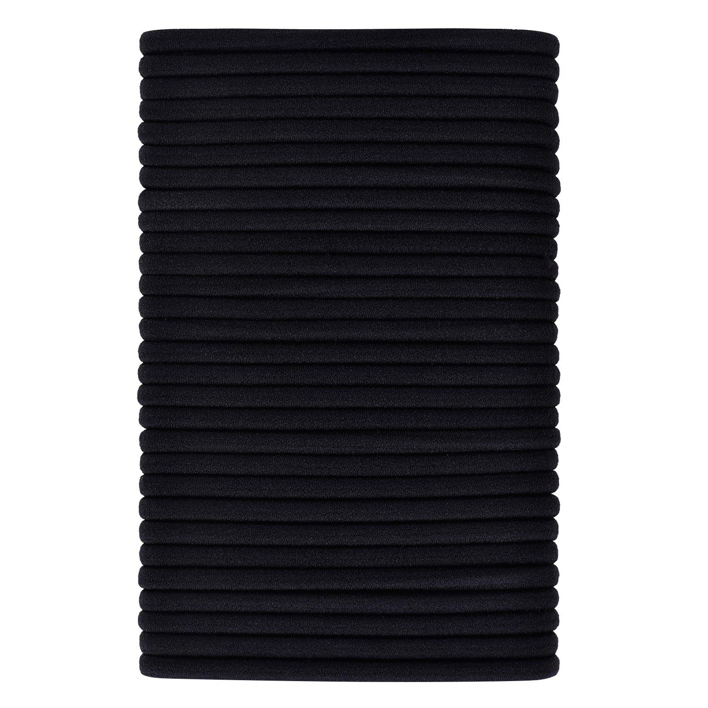 40 Pack Black Hair Elastics Hair Ties Hair Bands Bulk Ponytail Holders (3 mm) eBoot EBOOT-HAIR-BAND-13