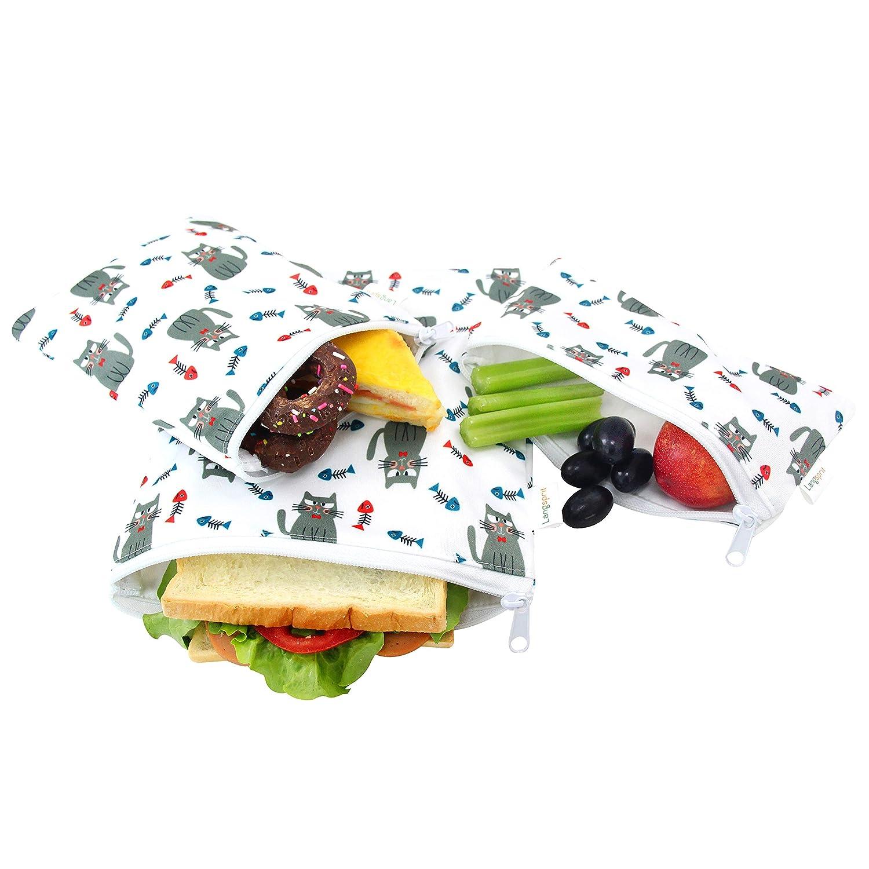 Langsprit Premium Reusable Sandwich & Snack Bags-Washable Lunch Bags- Set of 3 - (Cat)
