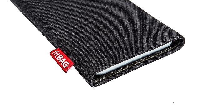 fitBAG Rave Schwarz Handytasche Tasche aus Textil-Stoff mit Microfaserinnenfutter f/ür Huawei P30 Pro Made in Germany H/ülle mit Reinigungsfunktion