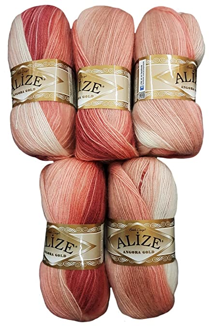 5 X 100 G Alize Strickwolle Farbverlauf Altrosa Rosa Weiß Nr 5652