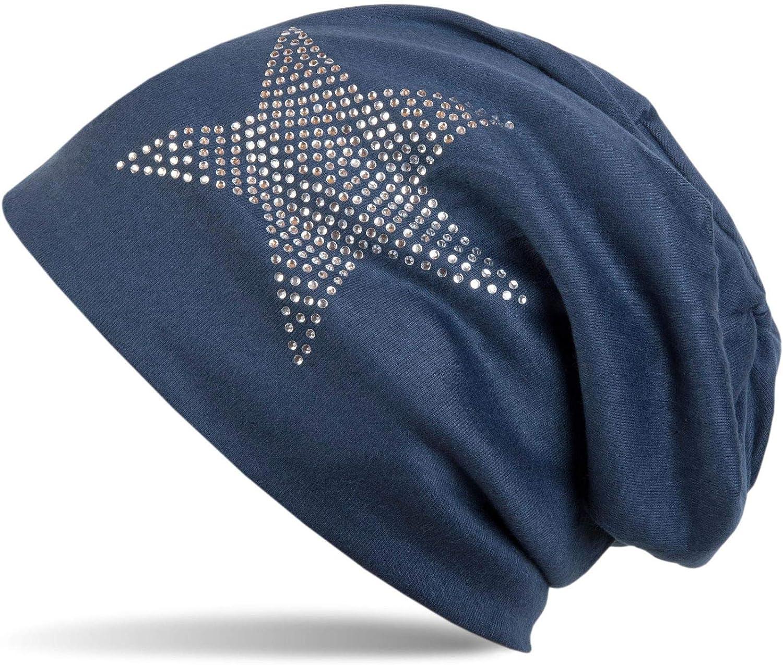 c/álido 04024023 styleBREAKER Gorro Beanie cl/ásico Unisex con Estrella con aplicaci/ón de estr/ás