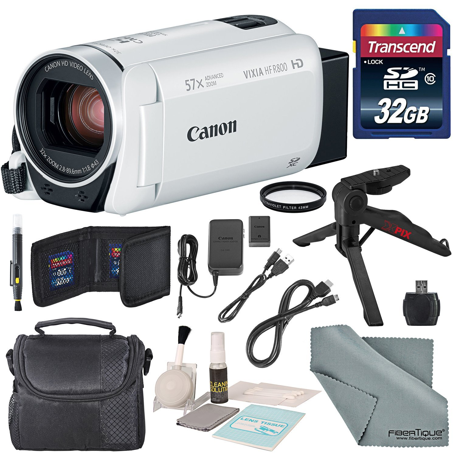 Canon Vixia HF R800 HD Camcorder (White) Bundle W/ 32GB SD Card, Camcorder Case, Cleaning Accessories and Fibertique Cleaning Cloth by Photo Savings