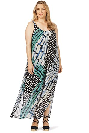 44db0d4a4f beme Sleeveless Spot Stripe Maxi Dress at Amazon Women's Clothing store: