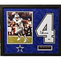 $199 » Dak Prescott Dallas Cowboys Autograph Signed White Custom Framed Jersey Number 19x24 Suede Matted JSA Certified