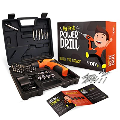 My First Power Drill Set - Real Cordless Drill for Boys and Girls - Lightweight, LED Light, Child Size Kit, Carrying Case, Includes Bits, Charger, 5 Year Warranty: Toys & Games