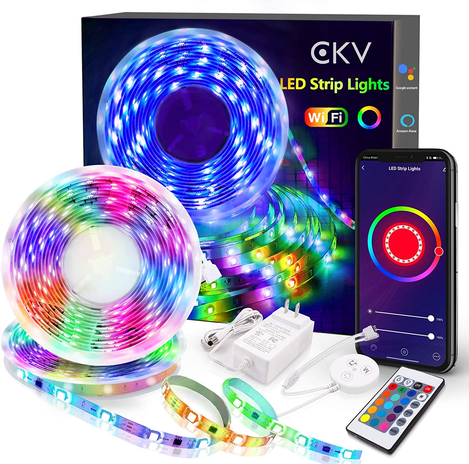 Smart LED Strip Lights 32.8ft - WiFi LED Rope Lights Works with Alexa Echo Google Home, Music Sync SMD 5050 App Control Waterproof RGB Light Strips for Bedroom Kitchen Room TV Party Wall Decorations