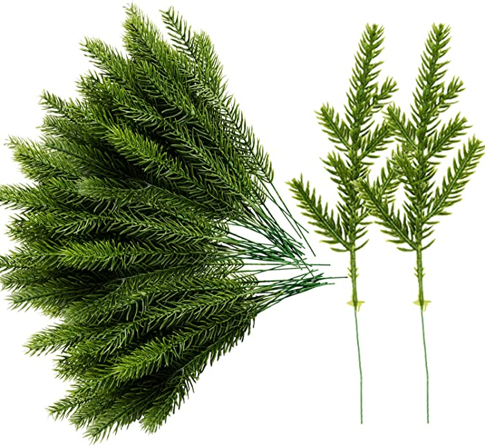 Alpurple 60 Packs Artificial Pine Needles Branches Garland-6.7x2.0 Inch Green Plants Pine Needles,Fake Greenery Pine Picks for DIY Garland Wreath Christmas Embellishing and Home Garden Decoration
