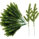 Alpurple 60 Packs Artificial Pine Needles Branches Garland-6.7x2.0 Inch Green Plants Pine Needles,Fake Greenery Pine Picks fo