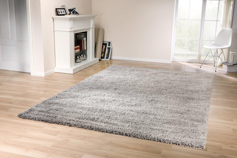 Wohnzimmerteppich grau  Tara Shaggy Teppich (Grau, 160x230cm): Amazon.de: Küche & Haushalt