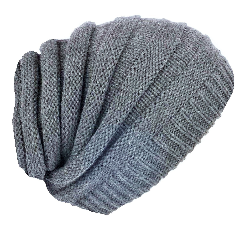 129b461cc12 MZ Beanie Hat Light Grey Long Baggy Rasta Style Ribbed Reggae Hat One Size   Amazon.co.uk  Clothing