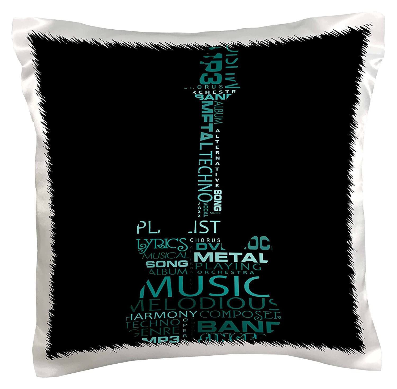 16 by 16 3dRose pc/_101439/_1 The Word Music Shaped Like A Guitar in Turquoise-Pillow Case