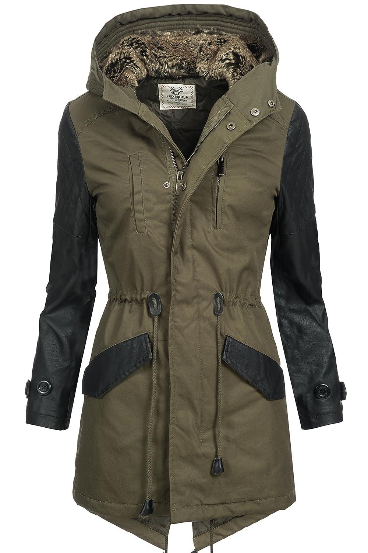 Winterjacke | Wintermantel | Baumwoll-Jacke für Damen Modell R42455 von Redbridge - eleganter Baumwoll-Mantel im schlanken Parka-Stil mit Kapuze auch für den Übergang Herbst / Winter