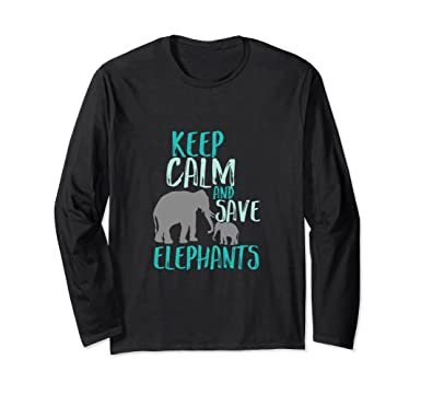 e86e9f748c30ee Unisex Keep Calm Save Elephants T-shirt Wildlife Animal Activist Small Black