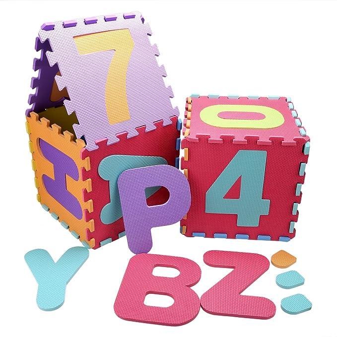 Smibie Alfombra Infantil de Puzzle Goma EVA 36 Piezas 30CM*30CM Desmontables Manta de Puzzle de Espuma Gigante de Suelo Alfabeto y Números para Niños ...