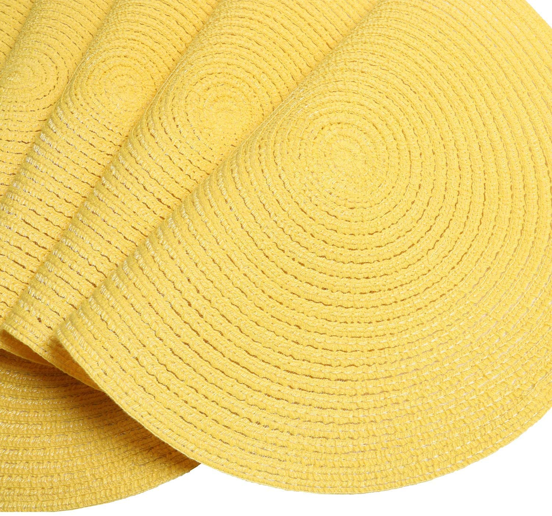 SHACOS Juego de 6 salvamanteles Individuales Redondos de Algod/ón manteles Individuales Amarillo Trenzado Round-shapped 38cm