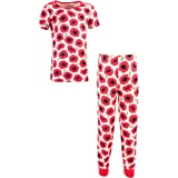 Touched by Nature Baby Organic Tight Fit Short Sleeve Top and Pant Pajama Set, Poppy