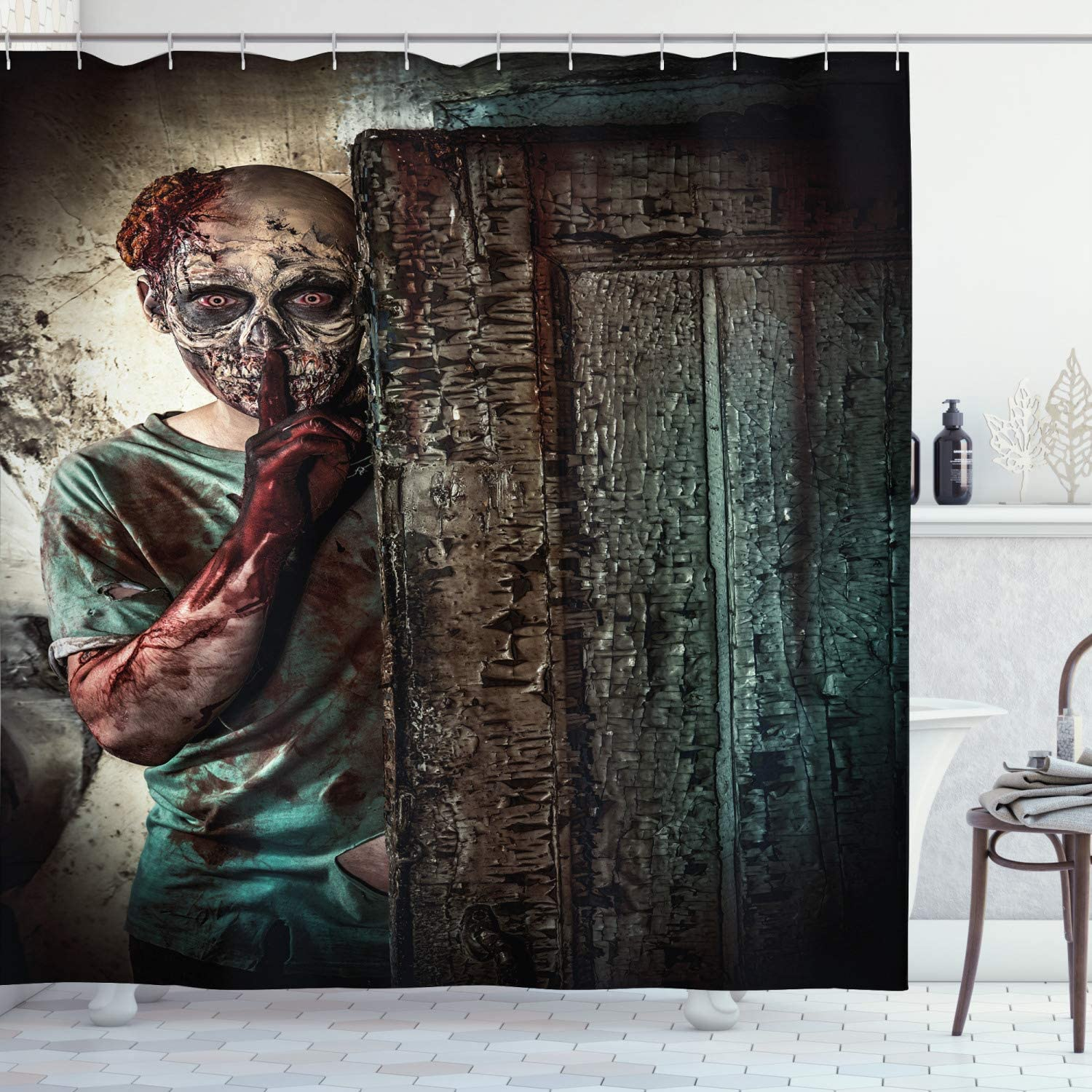 Ambesonne Zombie Shower Curtain, Monster Behind Door Looking with Evil Eyes Hell Nightmare Modern Print, Cloth Fabric Bathroom Decor Set with Hooks, 70