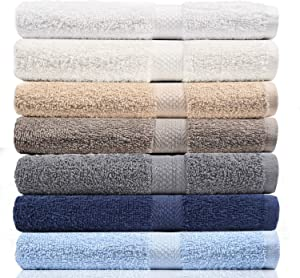 "CrystalTowels 7-Pack Bath Towels - Extra-Absorbent - 100% Cotton - 27"" x 52"""