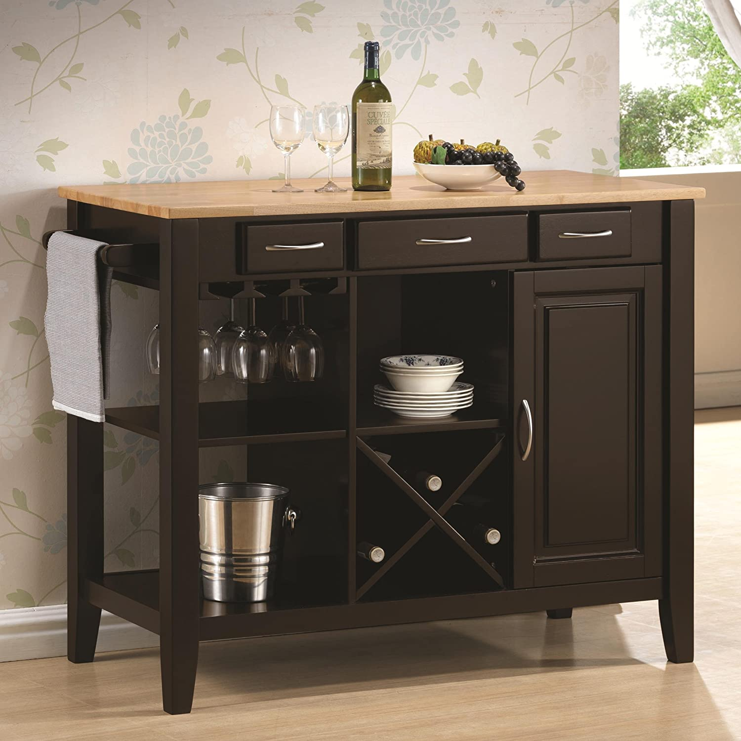 coaster kitchen cart with three drawers