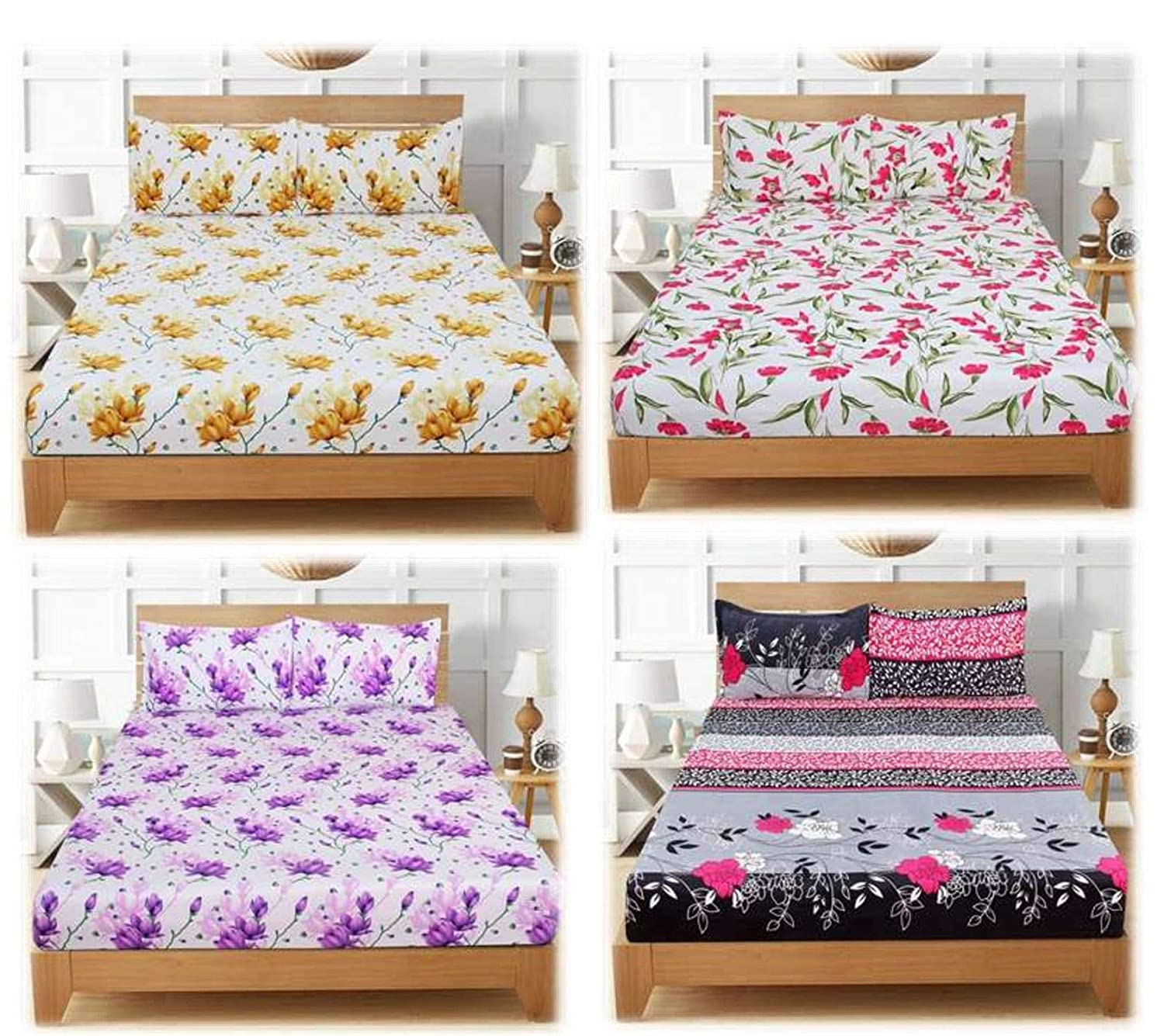 Cotton Double Bedsheet with 8 Pillow – Set of 4