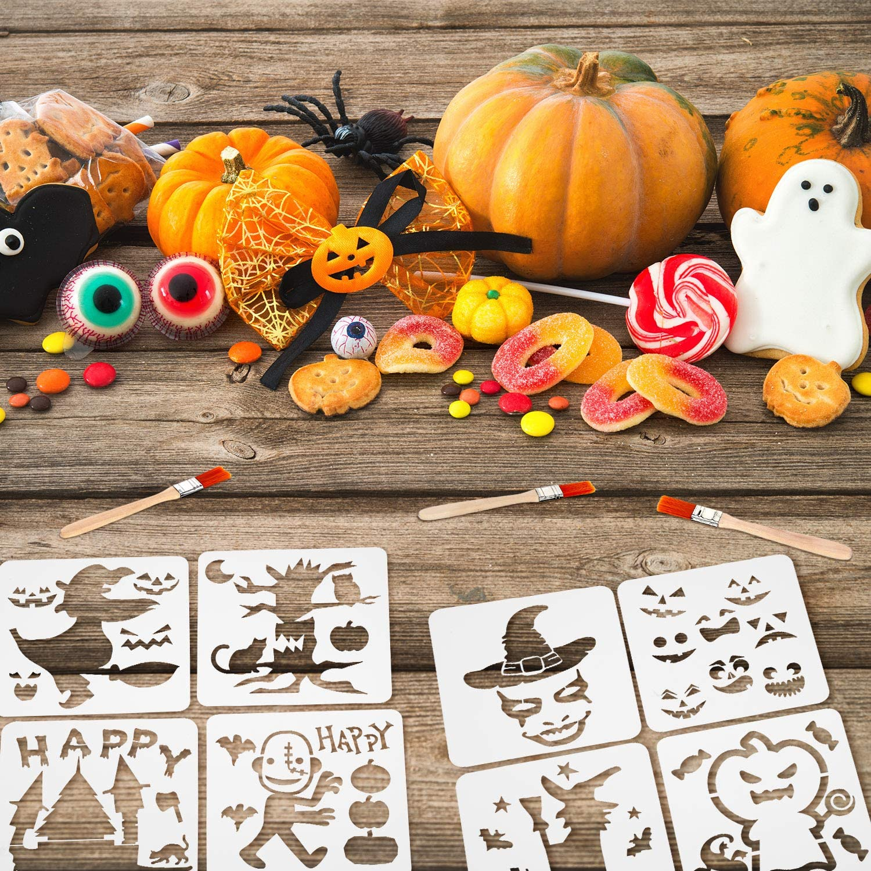 40 Piezas Plantillas de Pintura Pl/ástica de Halloween Plantilla Reutilizable de Halloween Plantillas de Calabaza Bruja Esqueleto Cr/áneo Vampiro Ara/ña Gato Fantasma con 3 Piezas Cepillo de Pintura