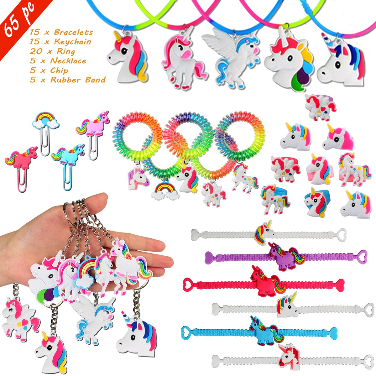Aitey Unicorn Party Favors, Unicorn Bracelets, Rings, Necklace, Chip and Keychains, Rainbow Unicorn Birthday Party Supplies Set Prizes Gift for Kids and Girls (65 Packs)