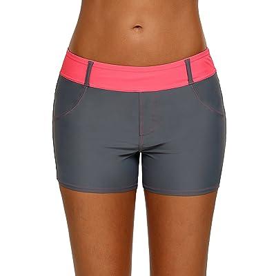 Aleumdr Womens Color Block Waistband Swim Board Shorts Plus Size S - XXXL at Amazon Women's Clothing store