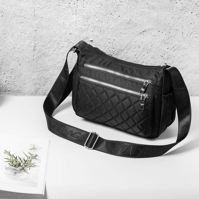 Multipockets Womens Cross Body Bag Work Travel Handbags Lightweight Messenger Side Bags with Extra Long Strap Black