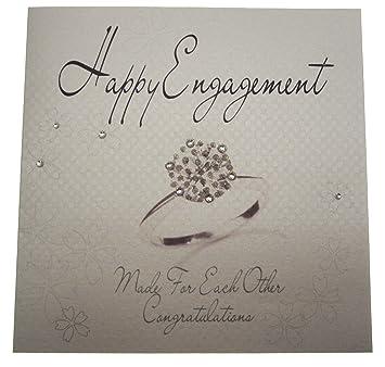 white cotton cards handmade engagement cardring white - Engagement Cards