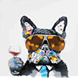 Bignut Art 100% Hand Painted Dog and Wine Framed Oil Paintings Canvas Wall Art Living Room Bedroom Home Wall Decor Ready to Hang 24x24 Inches Dog with Glasses