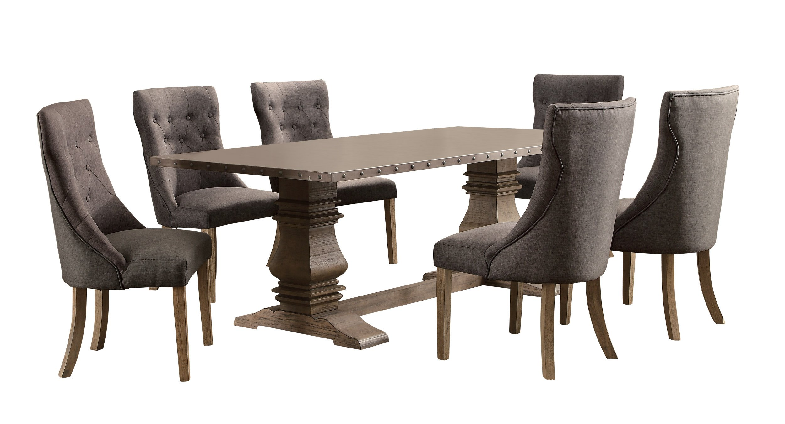 Homelegance Anna Claire 7-Piece Dining Set 84-inch Zinc Top Dining Table and 6 Button Tufted Wingback Chairs